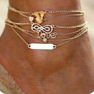 Gold Ankle Bracelet Set 6/Pcs